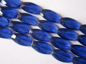 Crystal glass bead flat oval dark blue  JGB0063