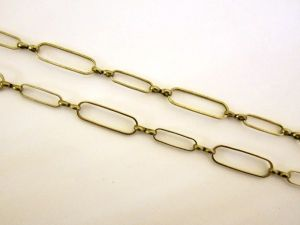 Loop chain antique brass plated rounded rectangle JCH0013