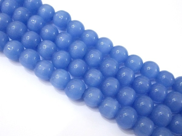 Glass bead 10mm cat´s eye blue