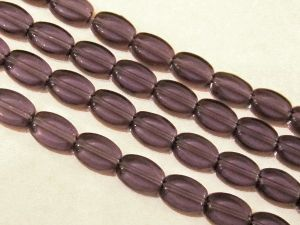 Glass bead flat oval 6x10mm lilac
