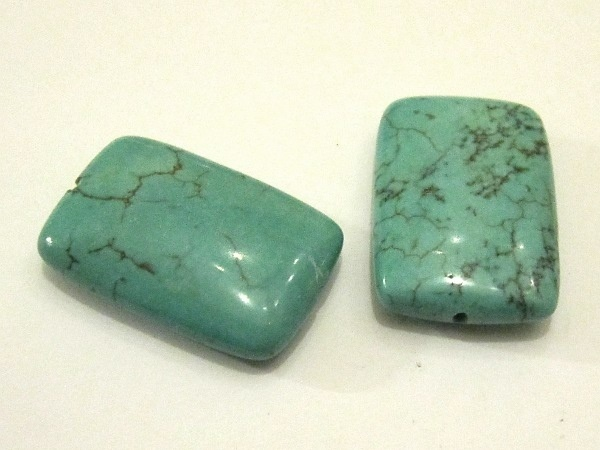 Magnesite turquoise dyed rectangle coin