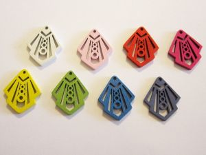 Wooden pendant geometrical colour assortment (5x2pcs)