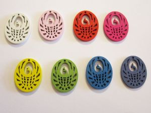 Wooden pendant oval swan colour assortment (5x2pcs)