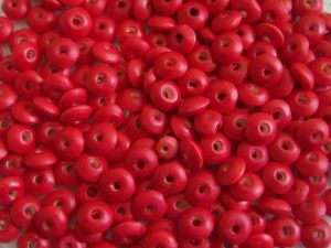 Wood bead rondelle red (4x8)