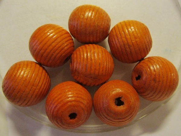 Wood bead striped orange (20mm)