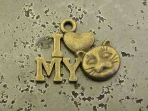 "Pendant "" I love my cat"" B (8pcs)"
