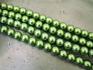 Glass pearl 10mm green HL30