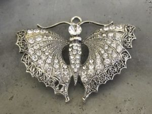 Pendant butterfly with clear rhinestones
