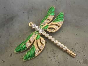 Pendant dragonfly green/ gold