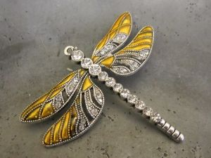 Pendant dragonfly yellow/ silver