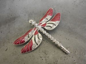 Pendant dragonfly red/ silver