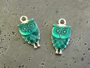 Pendant small owl green