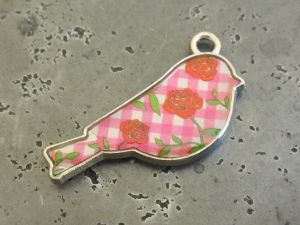 Pendant bird pink rose