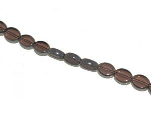 Glass bead metal plated edge oval JMG0018