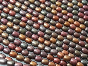 Czech glass bead grain matte metallic multicolor (96 pcs)