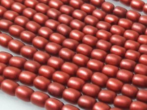 Czech glass bead grain matte metallic red (95 pcs)