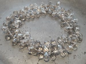 Crystal briolette AB-smokey grey wholesale 100pcs
