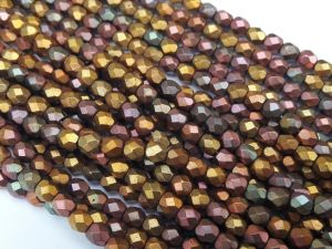 Czech faceted glass 4mm matte multicolor metallic (99pcs)