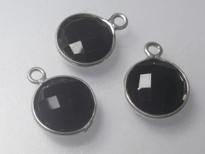 Onyx pendant sterling silver edge 11x14mm (1 pc)