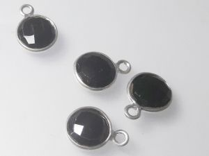 Onyx pendant sterling silver edge 9x12mm ( 1 pc)