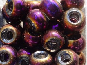 Glass bead rondelle big hole AB-lilac