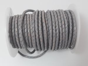 Braided leather cord 4mm grey