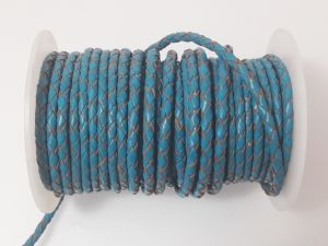 Braided leather cord 4mm turquise