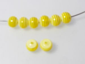 Resin bead stripy yellow 8mm ( 30pcs)
