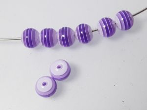 Resin bead stripy lilac 8mm ( 30pcs)