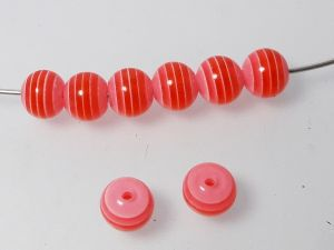 Resin bead stripy red 8mm ( 30pcs)