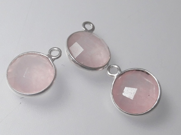 Rose quartz pendant sterling sliver edge 11x14mm (1pc)