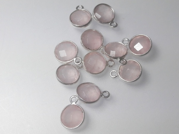 Rose quartz pendant sterling sliver edge 9x12mm (1pc)
