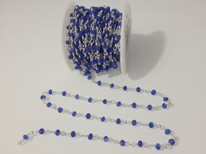 Jade blue faceted rondelle chain 10cm