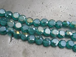 Crystal coin blue-green AB (8mm)