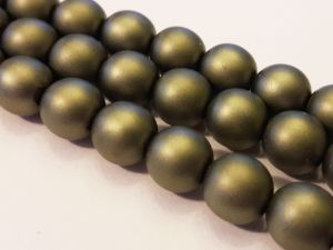Czech glass pearl matte olive 8mm