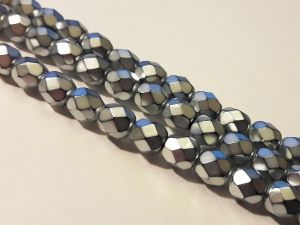 Czech faceted glass bead metal silver 6mm