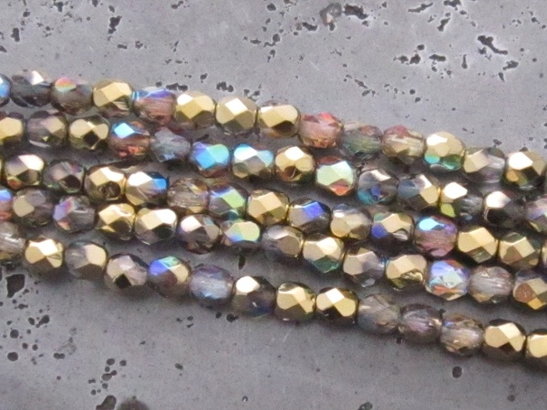 Czech faceted glass 4mm greenish gold (30pcs)