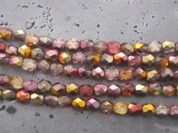 Czech faceted glass 4mm lilac-copper (30pcs)