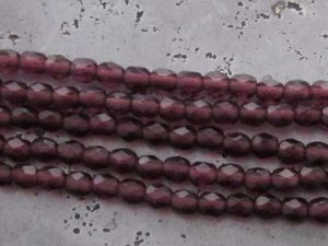 Czech faceted glass 4mm dark plum (30pcs)
