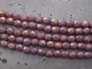 Czech faceted glass 4mm plum AB (30pcs)
