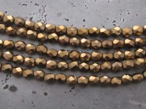 Czech faceted glass 4mm dark bronze (30pcs)