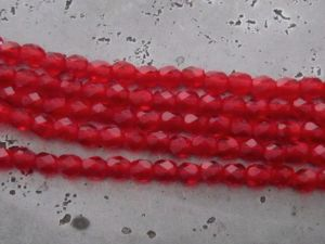 Czech faceted glass 4mm red (30pcs)
