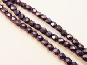 Czech faceted glass bead metal lilac 4mm