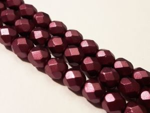 Czech faceted glass bead matte metal burgundy 6mm