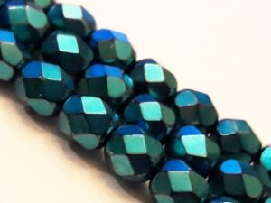 Czech faceted glass bead metal petroleum 6mm