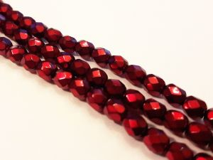 Czech faceted glass bead metal red 4mm