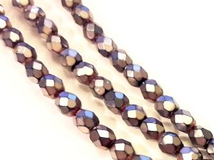 Czech faceted glass bead metal dark silver 4mm