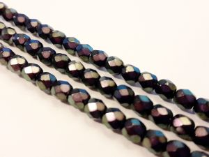Czech faceted glass bead metal dark lilac 4mm