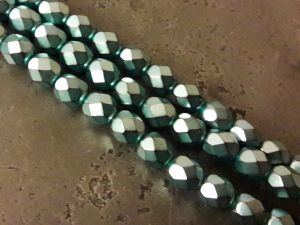 Czech faceted glass bead metal light petroleum 6mm
