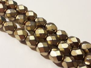Czech faceted glass bead metal light bronze  6mm